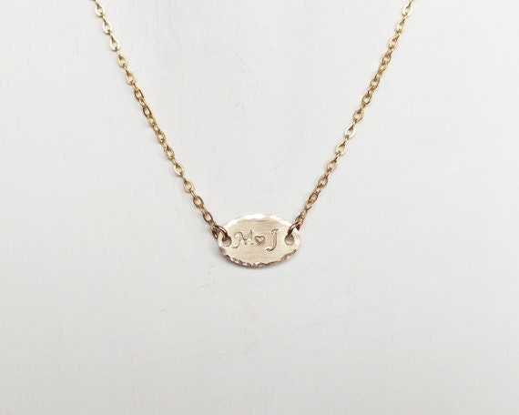 Suspended Oval Necklace Personalized Hammered 1  14k Gold Fill  Sterling Silver Monogram Necklace Initial Necklace 14 15 16 17 18
