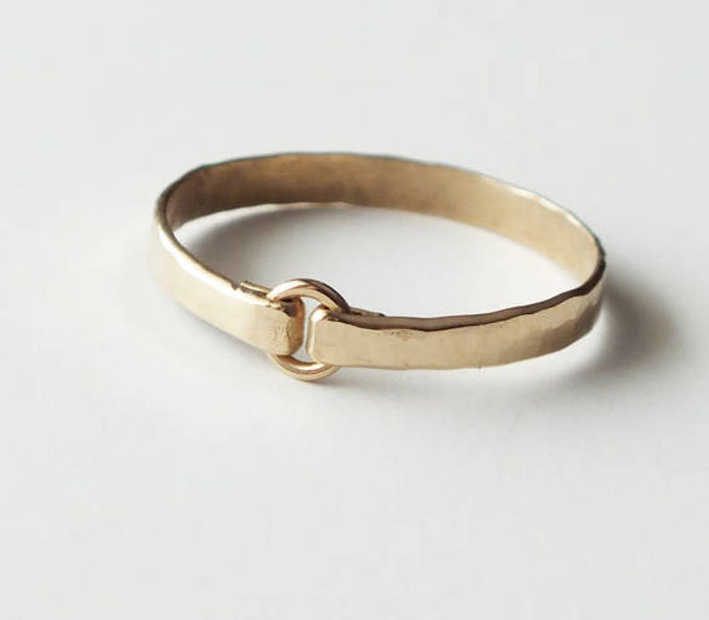 Heavy Gauge Hammered Gold Filled Ring  Gold Ring  Stacking image 0
