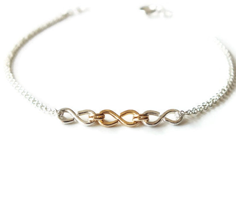 Gold Filled and Sterling Infinity Bracelet  Triple Infinity image 0