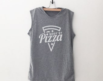 135f15eb76788c Body by pizza shirt funny workout tanks for women graphic tank top workout  shirt with sayings funny gift for her muscle tee