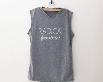 239cd68907 Radical feminist muscle tank women workout shirt with sayings grunge  clothing fitness work out gym tank gift for womens right shirts
