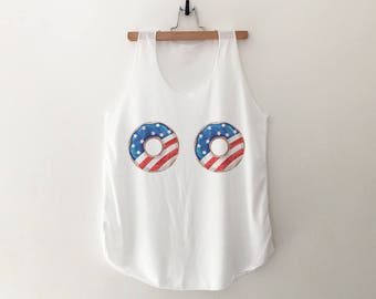 July 4th tank boob shirt graphic tank womens american flag clothing  donut shirts 4th of july shirt women tank top ladies printed fashion