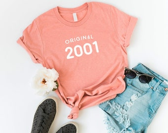 18th Birthday 2001 Party Shirt Girl Shirts Graduation Gift For Her Womens Graphic Tee Personalized Custom T