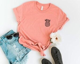 5c5342b2b Pineapple womens Pocket Tee Shirt Funny TShirts Instagram Tumblr T Shirt  Womens Graphic Tees Shirts for Teens Girls Gift Screen print TShirt
