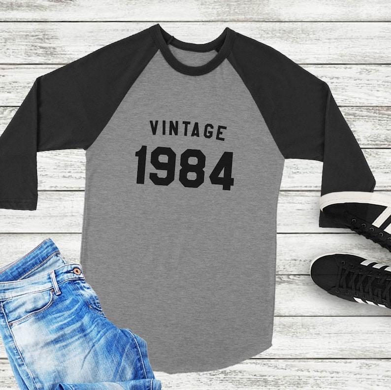 35th Birthday Gift For Her Baseball Shirt Women Vintage Graphic Tees 1984 Tshirt