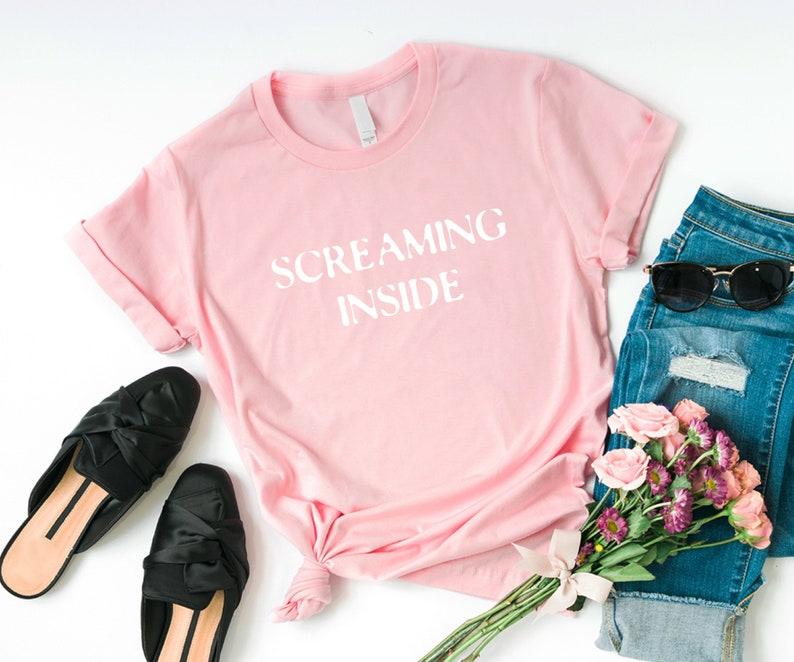 73a5049dcb2 Screaming inside Funny TShirts Instagram Tumblr T Shirt Womens | Etsy