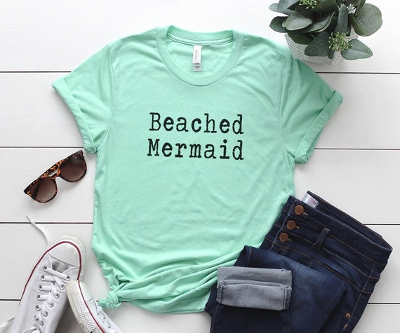 1343cba60d Beach mermaid t shirt t-shirt womens graphic tee vacation | Etsy