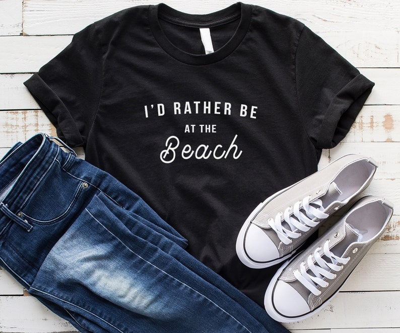 f260a563 I'd rather be at the beach tshirt women graphic tees funny | Etsy