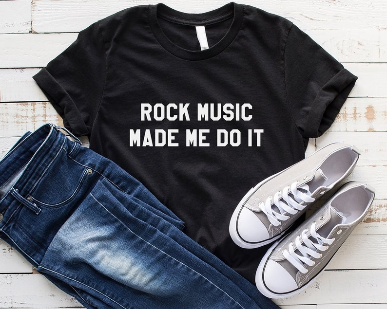 67bae8d1b2a56 Rock music made me do it Funny Shirts Sayings Tshirts Graphic Tees for  women Shirts Cute T Shirt Womens Clothing fashion Tops Funny T-shirts