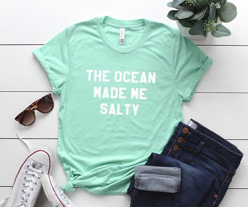 3b348d1c2 The ocean made me salty Graphic Tee Women T-shirt Tumblr | Etsy