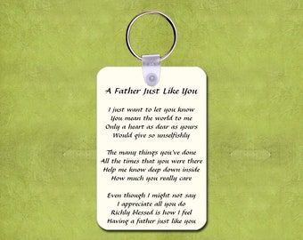 "Inspirational Poem Keychain - A Father Just Like You - Photo Key Chain You - 2"" x 3"" Fiberglass Reinforced Plastic"