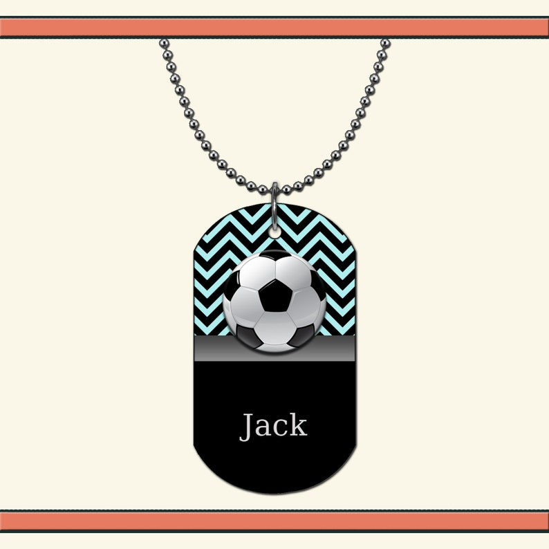 Soccer Double or Single Sided Aluminum Dog Tag Necklace  Keychain with Name