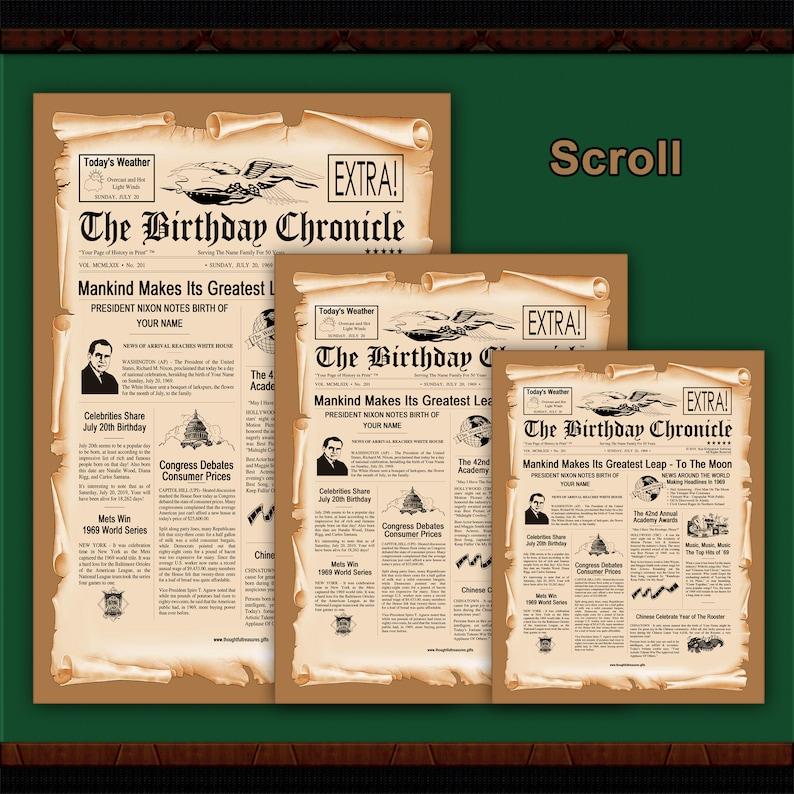 graphic regarding Free Printable Birthday Chronicle identified as 60th Birthday Variation: The Birthday Chronicle - Tailored Birthday Newspaper 8.5\