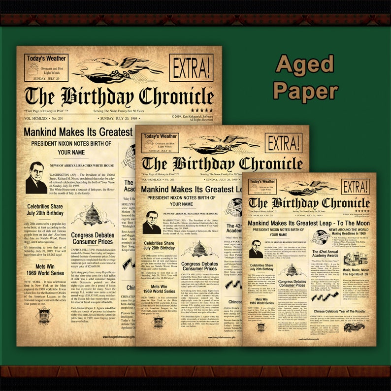 graphic about Free Printable Birthday Chronicle known as 60th Birthday Version: The Birthday Chronicle - Customized Birthday Newspaper 8.5\