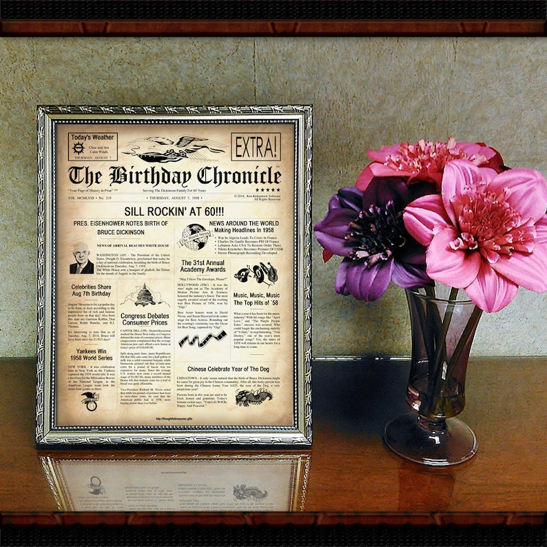graphic regarding Free Printable Birthday Chronicle identified as 60th Birthday Model: The Birthday Chronicle - Customized Birthday Newspaper 8.5\