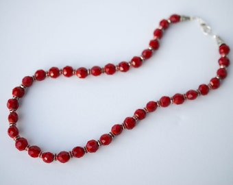 Velvet Red Czech Glass Beaded Necklace, 18 inches