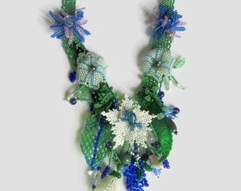 Summer Garden Necklace, Beaded Art Flowers, Statement Necklace, Gift for Women, Beaded Flowers Necklace
