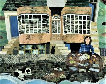 MARY ANNING Art Print·Lyme Regis·Dorset·Fossil Hunter·Dinosaurs·History·Paleontology·Collage·Amanda White Design·Wall Art·Naive Art