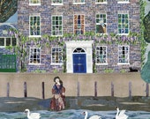 William Morris Print, Kelmscott House, London, Jane Morris, Thames, Swans, Collage, Naive Art, Amanda White Design, Writers Houses, Wall Art