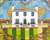 Keats Greeting Card, Romantic, Literary Card, Writers Houses, Collage, Naive, Birds, Garden Love, Valentine Card, London, Hearts and Flowers