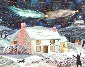William Blake Christmas Card, Naive Art, Writers Houses, Snow Scene, Holiday, Angels, England, Collage, Amanda White Design, Christmas Eve