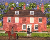Jane Austen Print, Chawton Cottage, Writers Houses, Wall Art, Gift for Booklovers, Pride and Prejudice, Amanda White Design, Collage, Naive