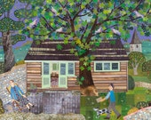 Virginia Woolf Art Print·Bloomsbury Group·Writers Houses·Monk's House·Naive Art·Collage·Fine Art Print·Writer's Shed·Garden·Trees·Birds·Dog