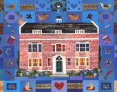 Charles Dickens House Greeting Card, Literature Card, Writers Houses, Art Card, Literary Art, Book Lovers, Illustration, Amanda White Design