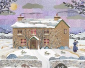 Beatrix Potter Christmas Card, Holiday Card, Snow Scene, Lake District, Hill Top Farm, Collage, Naive Art, Traditional Christmas, Art Card