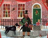 Charles Dickens Christmas Card·Victorian·Snow·Dog·Writer's House·Recycled Art·London·Traditional Christmas Scene·Collage·Amanda White Design