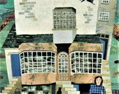 Mary Anning Print, Lyme Regis, Fossil Hunter, Dinosaurs, History, Paleontology, Collage, Amanda White Design, Wall Art, Naive Art