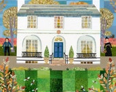 John Keats, Greeting Card, Keats House, Autumn, Birds, Garden, Collage, Writer's House, Garden, London, Keats, Amanda White Design, Poet,