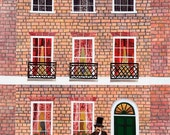 Charles Dickens Greeting Card·Naive Art·AmandaWhiteDesign·Dog·Bookish·London·Dickens Museum·Writers Houses·Oliver Twist·Collage·Illustration