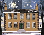 Bronte Parsonage Greeting Card, Bronte Sisters, Winter Moonlight, Naive Art, Bookish, Fine Art Card, Amanda White Design, Wuthering Heights