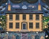 Brontë Sisters Greeting Card, Haworth Parsonage, Full Moon, Literary Card, Writers' Houses, Graveyard, Amanda White Design, Midnight Blue