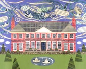 Shelley House Greeting Card, English Romantics, Poetry, Writers' House, Stately Home, Naive Art, Collage, Birthday Art Card, Amanda White