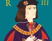 Richard III Greeting Card, English King, Royals, Leicester, British, History, Amanda White Design, Folk Art, Collage Portrait, Shakespeare