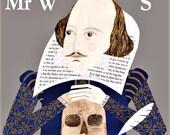 William Shakespeare Greeting Card,British Theatre History,Hamlet, Shakespeare, Bard of Avon, Literary Cards, English Literature, Art