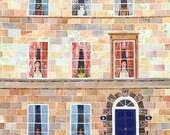 Jane Austen, Greeting Card, Bath, Writers' Houses, English Literature, Pride and Prejudice, Amanda White Design, Booklovers' Card, Naive Art