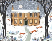 Bronte Sisters Print, Haworth Parsonage, Writers' Houses, Christmas, Amanda White, Folk Collage, Winter, Snow Scene, Gift for Booklovers