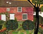 Jane Austen Garden Print, Chawton Cottage, Pride and Prejudice, Summer Garden, Writers Houses, Amanda White Design, Collage, Naive Art