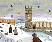 Bronte Sisters Print, Haworth, Snow, Brontë Parsonage, Winter Walk, Jane Eyre, Wuthering Heights, Gift for Booklovers, Amanda White Design