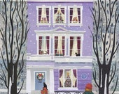 Sylvia Plath Christmas Card, London, Snow, Poet, Primrose Hill, Cats, Naive Art, Collage, Amanda White Design, Writers Houses, Holiday Card