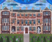 Ham House Greeting Card, Ghosts, Haunted Houses,British History,Stately Home, Paper Collage, England, British, Amanda White Design, Garden
