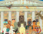 The British Museum Greeting Card·Illustration·Antiquities·Collage·Naive Art·London·Museum·British·Art·Quirky·Recycled·Amanda White Design