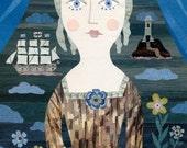 Portrait of a Lady, Eighteenth Century, The Sea, Sailing Ship, Lighthouse, Flowers, Blue, Greeting Card, Birthday, Art Card, Illustration