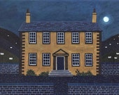 Bronte Sisters Greeting Card·Haworth Parsonage·Full Moon·Naive Art·Wuthering Heights·Jane Eyre·Sheep·Poetry·Midnight·Amanda White Design
