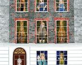 Benjamin Franklin Greeting Card, American Revolution, London House, Naive Art, Art Card, Theatrical. London History, Literary, Amanda White