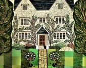 William Morris Greeting Card, Kelmscott Manor, Collage, Garden, Art Card, Naive Art, Recycled, Amanda White Design, Pre-Raphaelites, England