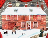 Jane Austen Literary Christmas Card, Traditional Snow Scene, Cat, Dog, Writers Houses, Chawton Cottage, Holiday Card, Amanda White Design